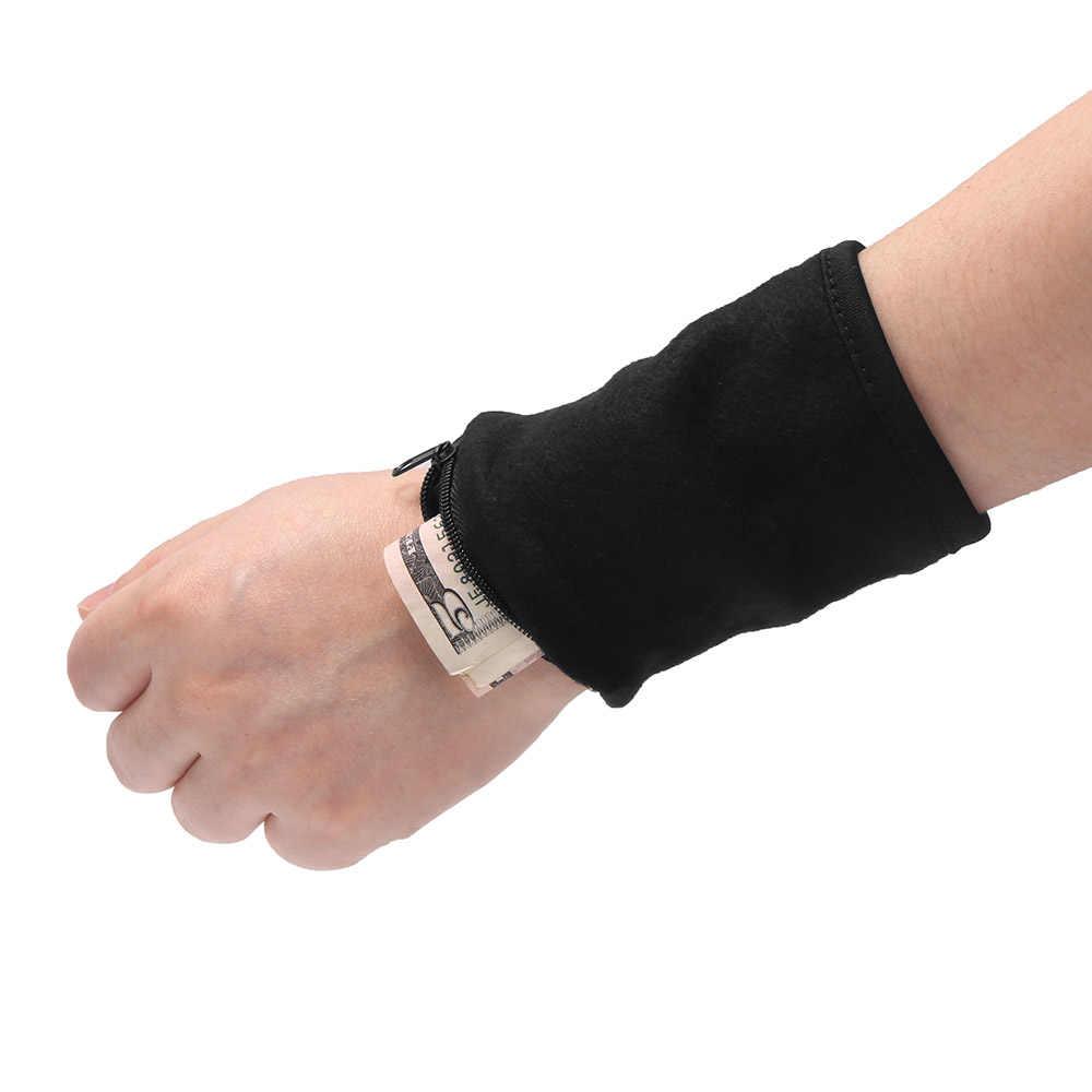 Deportes hombres mujeres pulsera ancha brazo dinero tarjeta monedero mano interior Zip bolsa viaje bolsa gimnasio bicicleta cartera al aire libre de herramientas