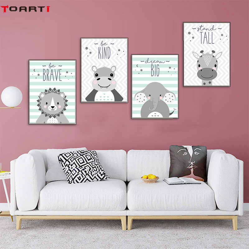 Cartoon Animal Lion Giraffe Elephant Poster And Print Nursery Quote Canvas Painting Be Brave Letters Wall Art Picture Home Decor