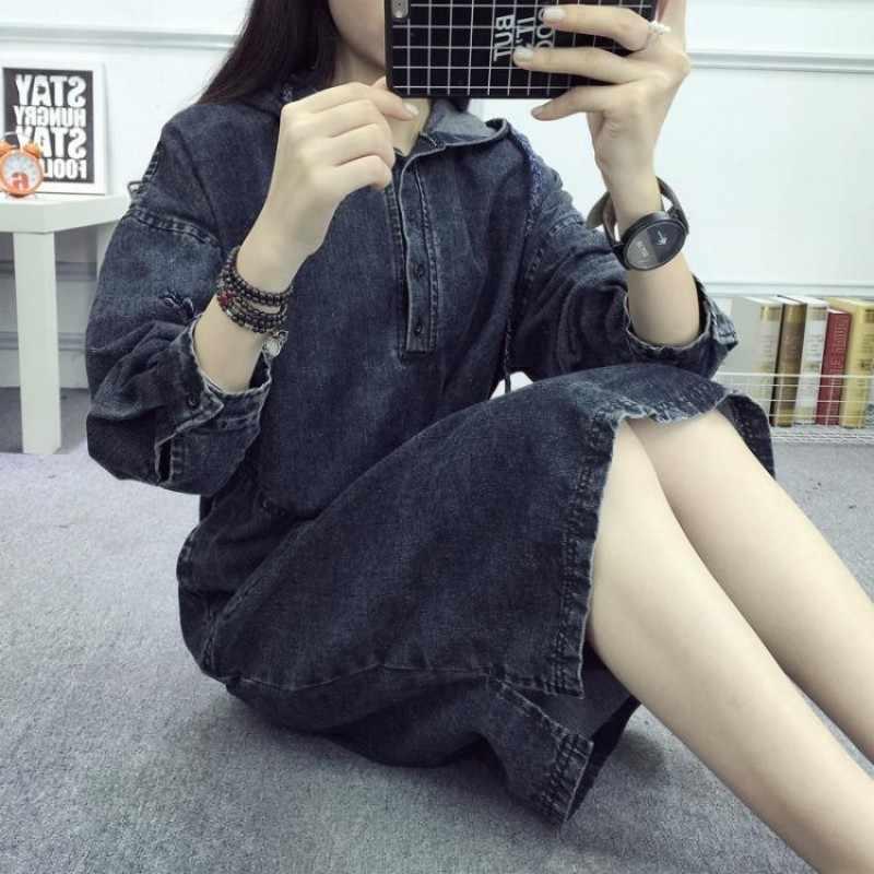 2020 New Vintage Allentato Con Cappuccio A Maniche Lunghe Denim del Vestito di Autunno della Molla di Stile College casual Pullover Vestito di Jeans Femminile Nero/ blu