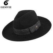GEMVIE бренд шерсть 3 цвета Широкие полями мужская фетровая шляпа с лентой фетровая Панама шляпа зимний джаз шляпа для женщин