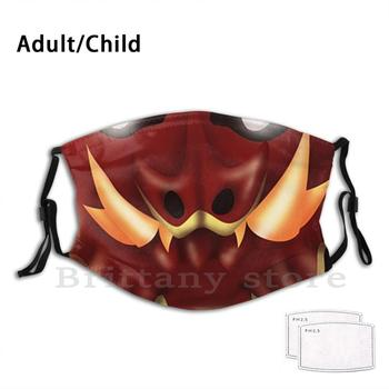 Red Half - Dragon Funny Print Reusable Pm2.5 Filter Face Mask Dnd And Dragon Dragonborn Scalie Fantasy Evil Fire Monster image