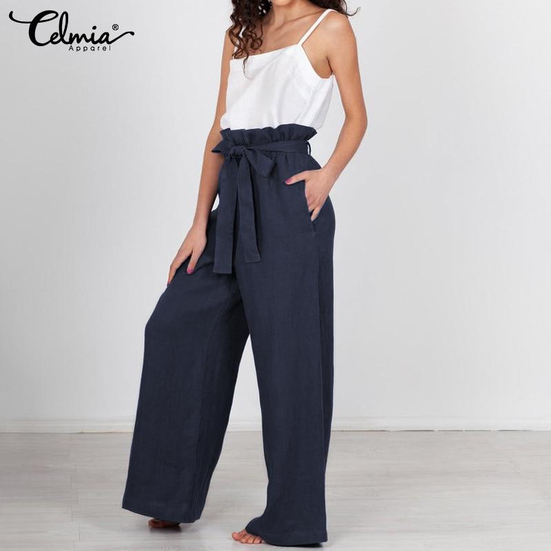 Vintage Linen Trousers Women High Waist Wide Leg Pants Celmia 2019 Fashion Casual Loose Long Palazzo Office Pantalon Femme S-5XL