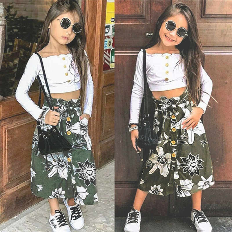 1-6 jaar Peuter kids Off shoulder tops + bloemen rokken Fashion Zomer Herfst Outfits Lange mouwen sling T-shirts hoge taille Kleding