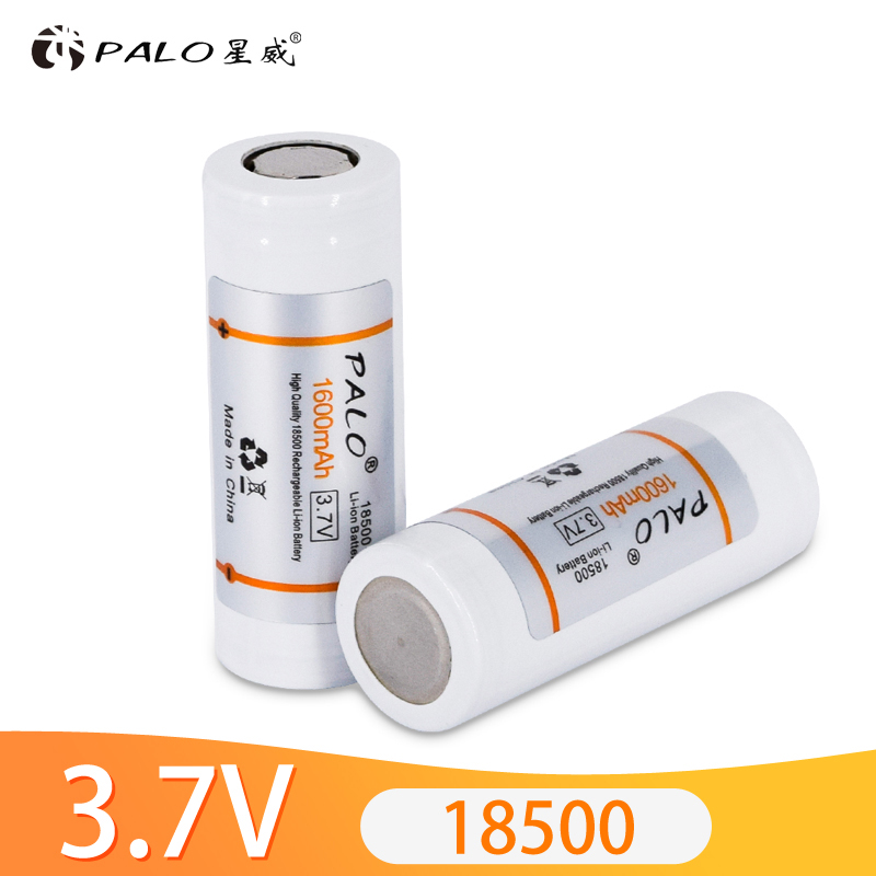 PALO <font><b>18500</b></font> <font><b>Battery</b></font> Original <font><b>3.7V</b></font> 1600mAh <font><b>li</b></font>-<font><b>ion</b></font> Rechargeable <font><b>Battery</b></font> for Flashlight,Headlight,Electronic-cigare+<font><b>battery</b></font> case image