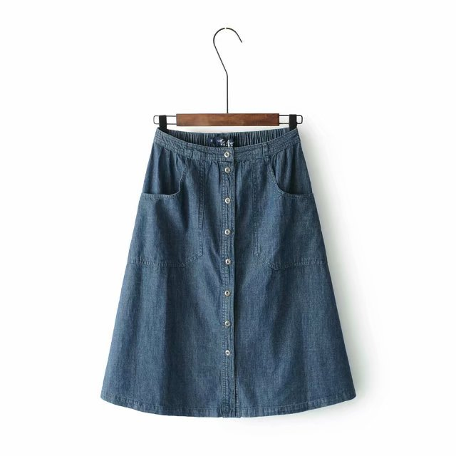 Denim Skirt Retro Simple Single-Breasted A- Line Midi-skirt Elastic High-waisted Versatile Big Hemline Long Dress Summer