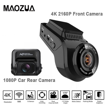 цена на Newest Dash Cam Car DVR Camera 2 Inch 4K 2160P with 1080P Rear Cam  170 Degree Dual Lens Dash Camera Recorder With Built-in GPS