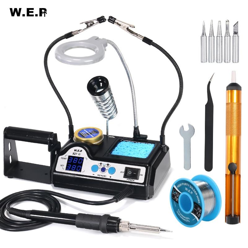 Wep 927 2 clipes de ferro de solda com opcional lâmpada lupa display digital kit ferro de solda elétrica conjunto estação de solda