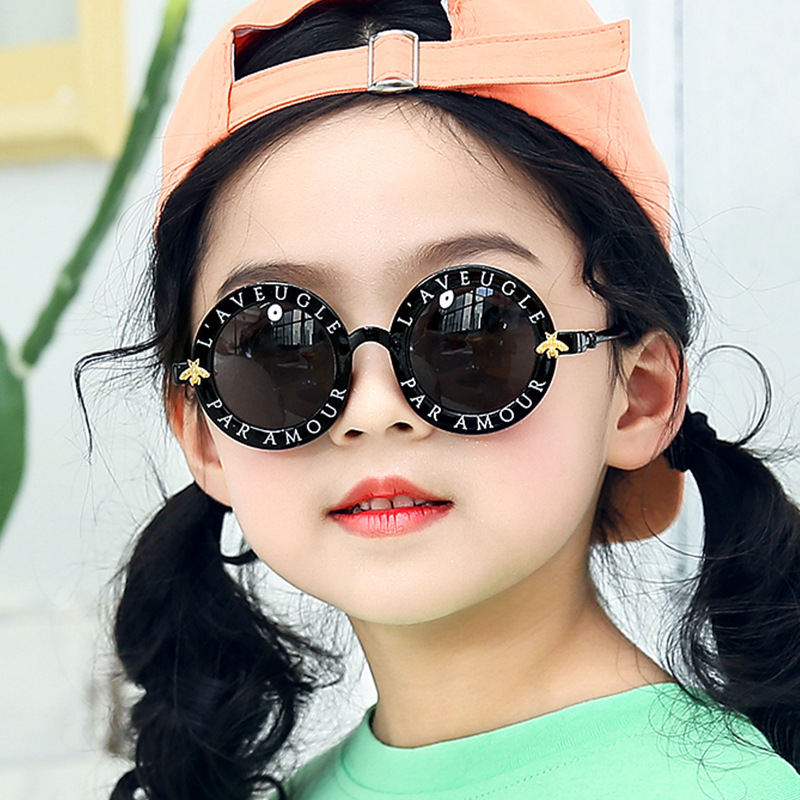 New Bee Kids Sunglasses Personality Trend Letters Sunglasses Colorful Mercury Kids Glasses