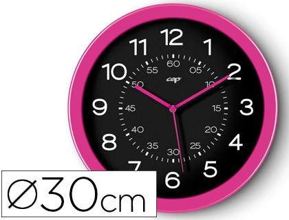 WATCH CEP WALL PLASTIC ROUND OFFICE 30 CM DIAMETER PINK AND BLACK COLOR DIAL