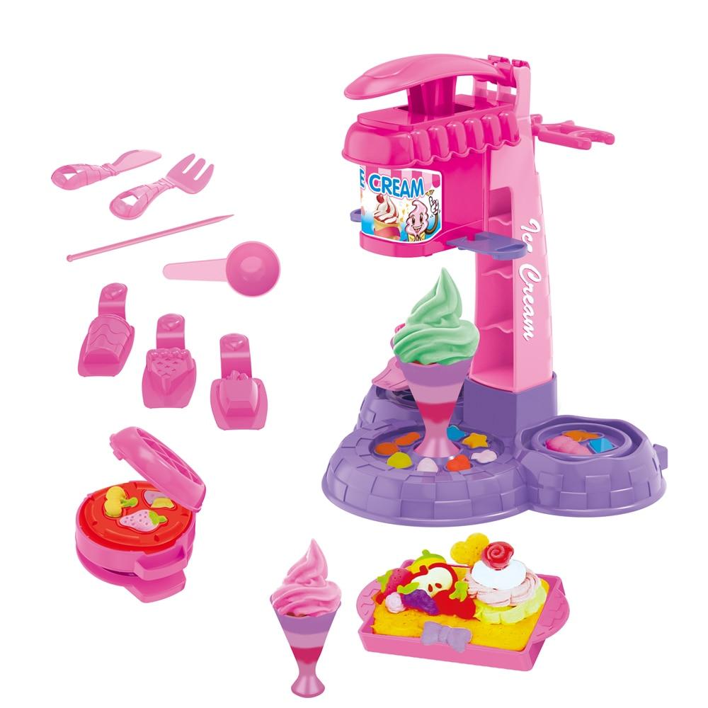13/16Pcs DIY Clay Dough Plasticine Ice Cream Machine Mould Play Kit DIY Toy Handmade Ice Cream Maker Kitchen Toy Kids Gift