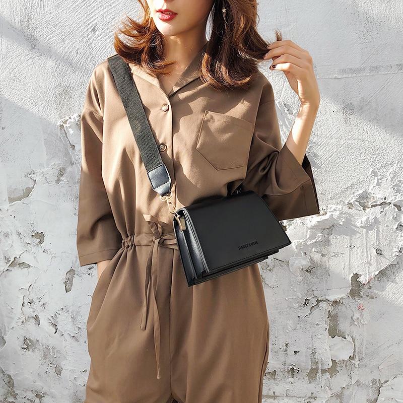 Casual Solid Color Small Fiap Bags Women Shoulder Crossbody Bag All-match Flap Vintage Pu Ladies Party Handbag Wide Straps Bag