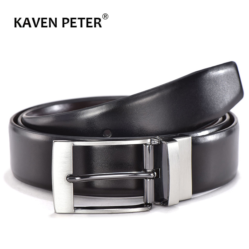 Luxury Men Leather Belt Match Reversible Buckle High Quality Male Genuine Leather Belts For Business