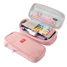 Large Capacity Pencil Case Cosmetic Bag Cotton Linen Student Stationery Bag School Supplies Simple Solid Color Pen Bag