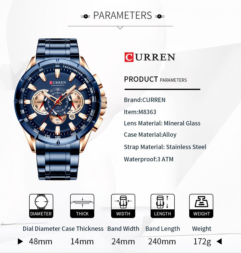 H26cc5cb3dea14160b6b27efe7485efefJ CURREN Wrist Watch Men Waterproof Chronograph Military Army Stainless Steel Male Clock Top Brand Luxury Man Sport Watches 8363