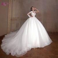 Waulizane Scoop Necklike Of Full Sleeve Luxury Ball Gown Wedding Dress With Gorgeous Royal Train Bridal Dress