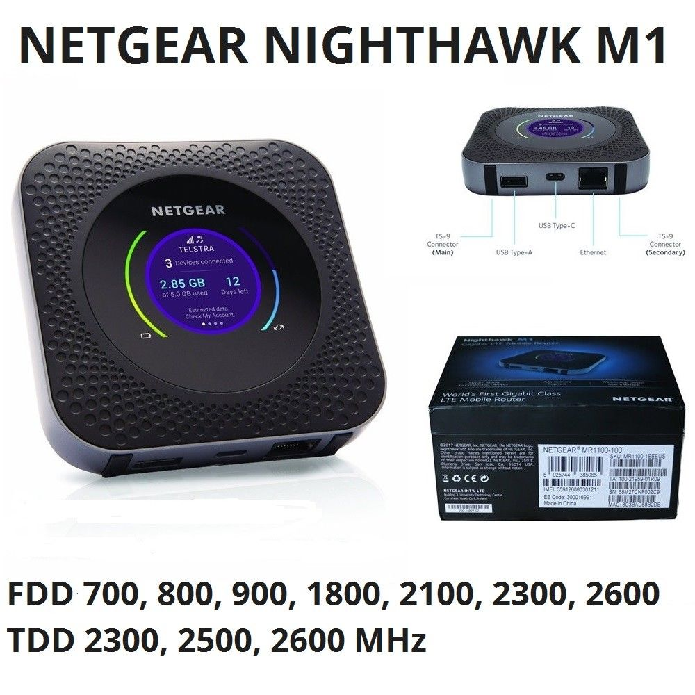 Unlocked Netgear M1 Nighthawk MR1100 4G Gigabit WiFi Hotspot Router EUS Version