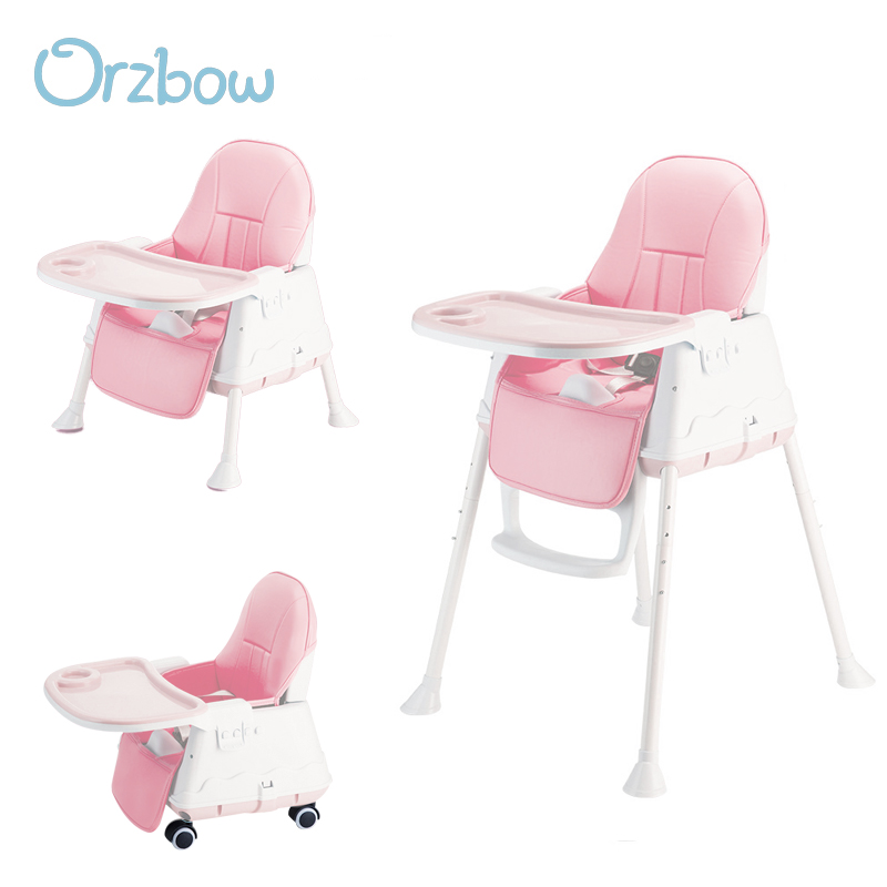 Orzbow Highchairs For Children Kids Feeding Baby High Chair With Dining Table Baby Booster Seat Adjustable Folding Easy To Carry