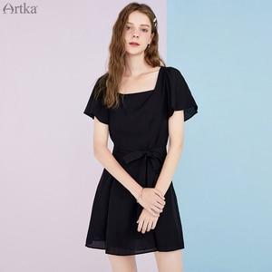 Женское шифоновое платье ARTKA, черное винтажное платье во французском стиле с поясом и квадратным воротником, длинное платье с расклешенным ...