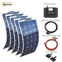 Sistema de panel solar flexible adaptador de conector solar 50A, 5x100w, 500w, para batería de coche, kit de sistema de bricolaje RV