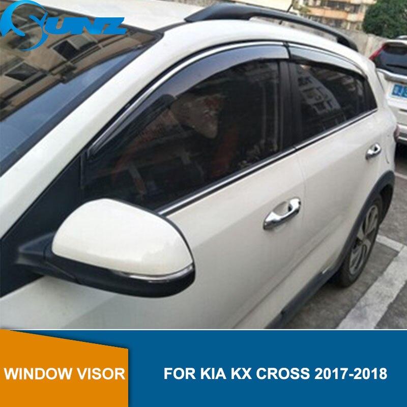 Car window rain protector For KIA CROSS 2017 2018  Window Visor Vent Shades Sun Rain Deflector Guard Styling SUNZ