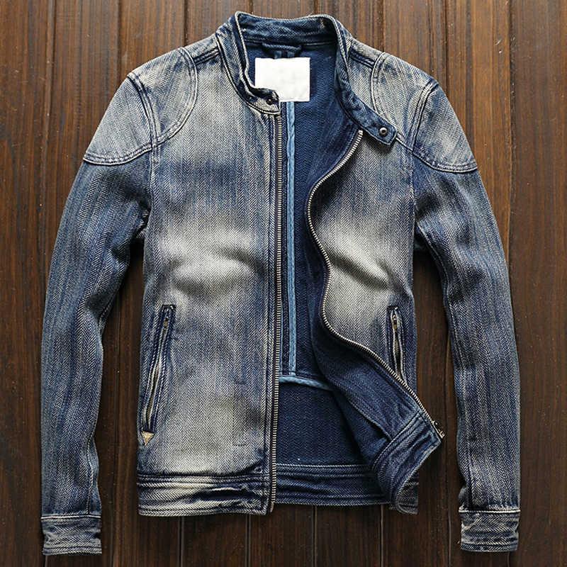 2020 europäischen Stil Automotive Jeans Jacke Mäntel Für Herren Vintage Alte Mode Casual Biker Männlichen Denim Jacke Plus Größe 3XL a608