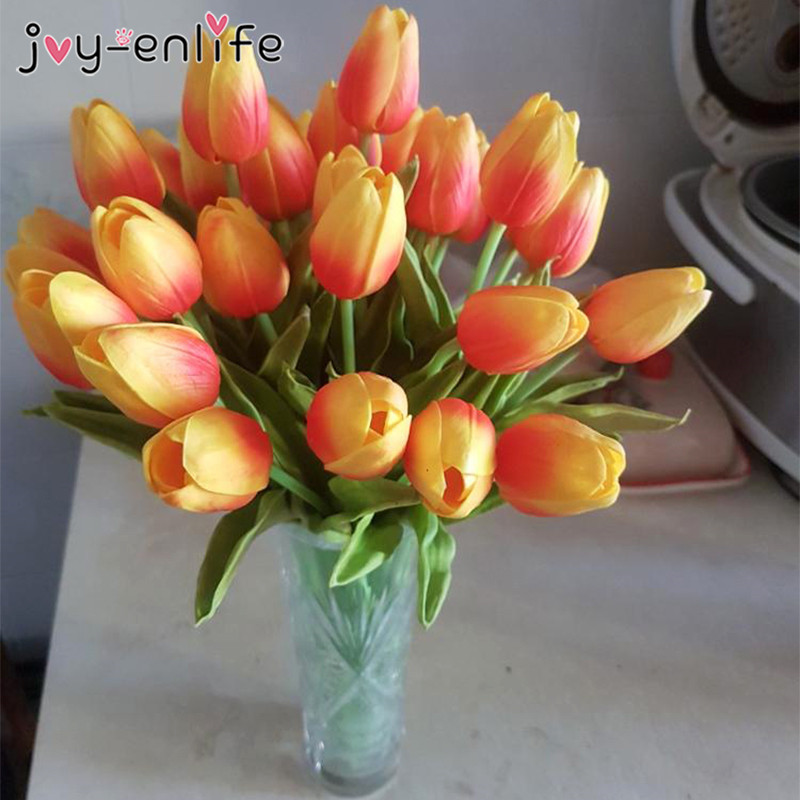 10pcs Artificial Flowers Garden Tulips Tulipan For Home Wedding Mariage Decoration Fake Flower Real Touch Flower Tulp Bouquet Leather Bag