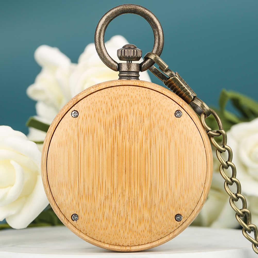 Unikalny bambusa duży zegarek kieszonkowy z naszyjnik mężczyźni kreatywny projekt Dial brązowy łańcuch wisiorek zegarek kobiety prezent 2019 taschenuhr