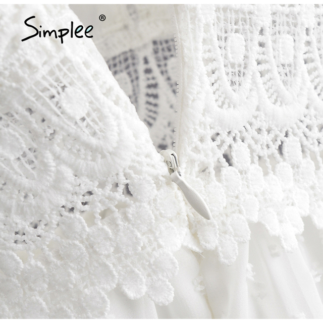Simplee Sexy V-neck White Stitching Mini Dress Casual Sleeveless Lace Summer Women Beach Dress Backless Embroidered A-line Dress 6