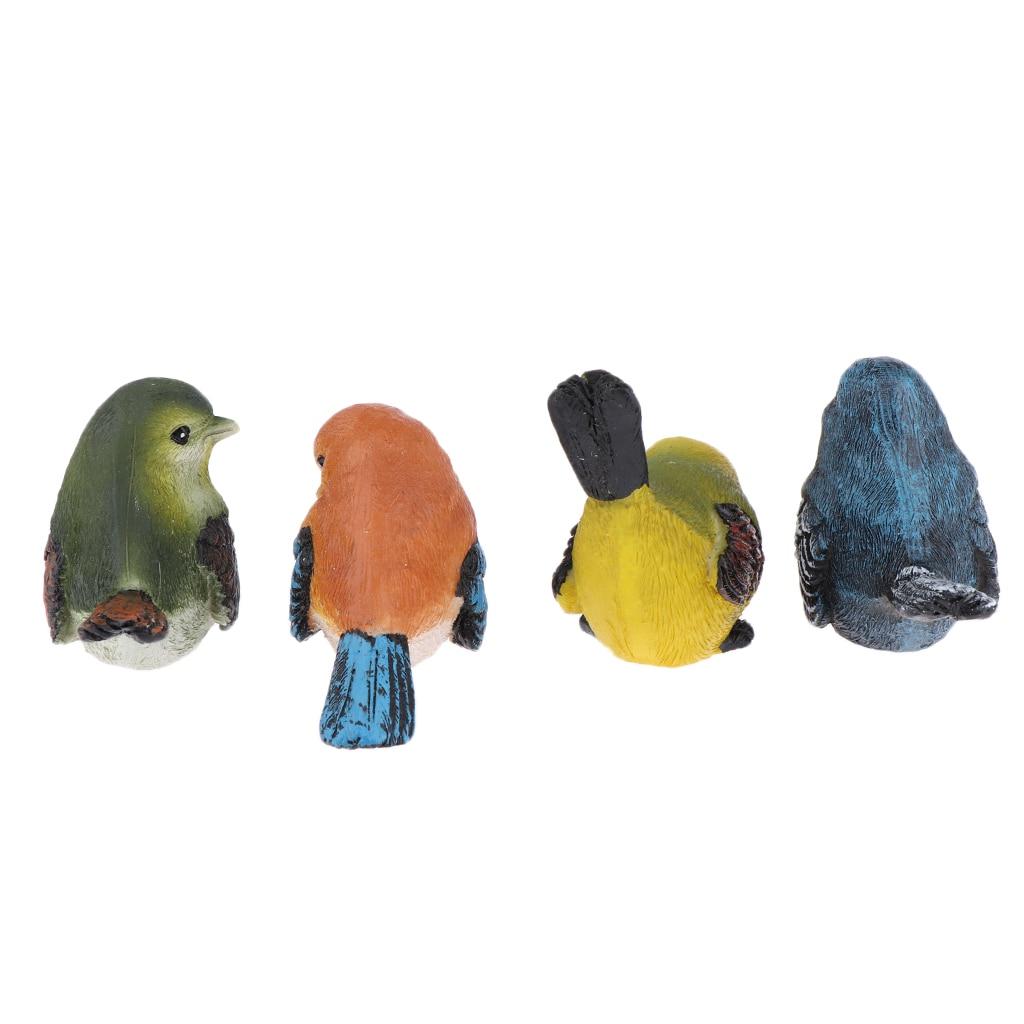 4 Pcs//Set LOVE Birds Resin Statue Figurine Home Garden Desk Decor Ornament