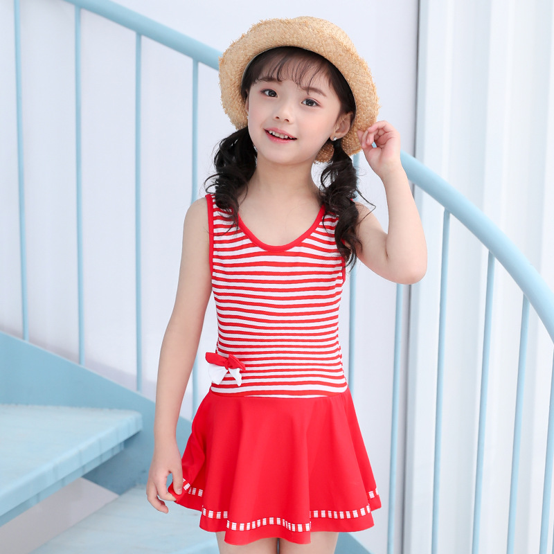 2019 New Style KID'S Swimwear Stripes Split Type Pleated Backless Playful Bow Swimming Suit