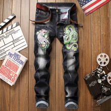 Brand jeans men black denim trousers ripped distressed fashion hip hop style straight plus size 29-38 male jeans 3d embroidery new brand personality fashion clothing style hole patch embroidery jeans 2017 men s fashion straight denim trousers blue