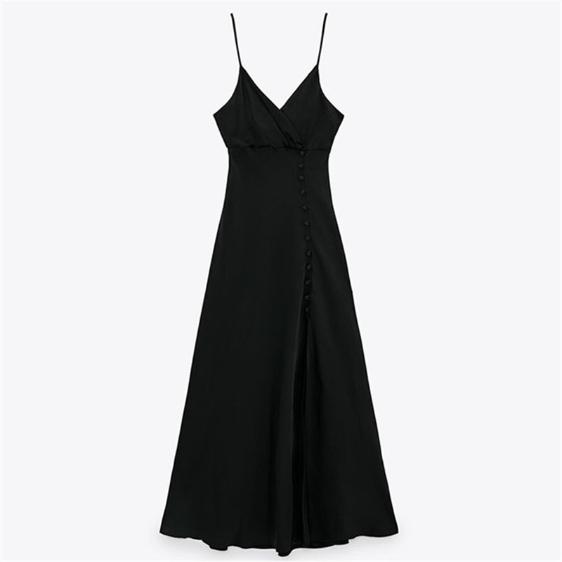 Women Satin Black Slim Midi Dress with Wrap Bodice side Buttons and Slit detail
