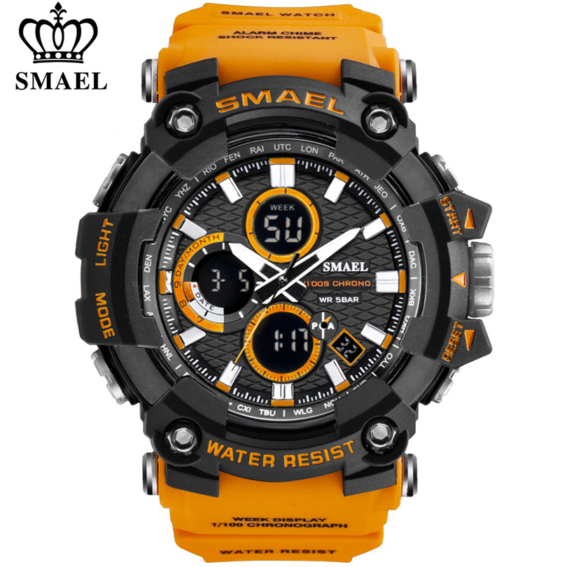 SMAEL 1802 Sports Men's Watches Top Brand Luxury Military Quartz Watch Men Waterproof Shock Male Digital Clock Relogio Masculino