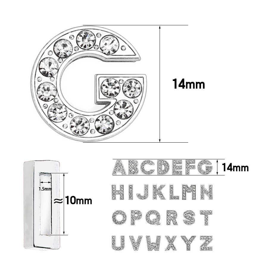 1pc A-Z 10mm clear volledige rhinestone Slide Letters Fit DIY Armband & Armband & Huisdier Kraag Sieraden Maken