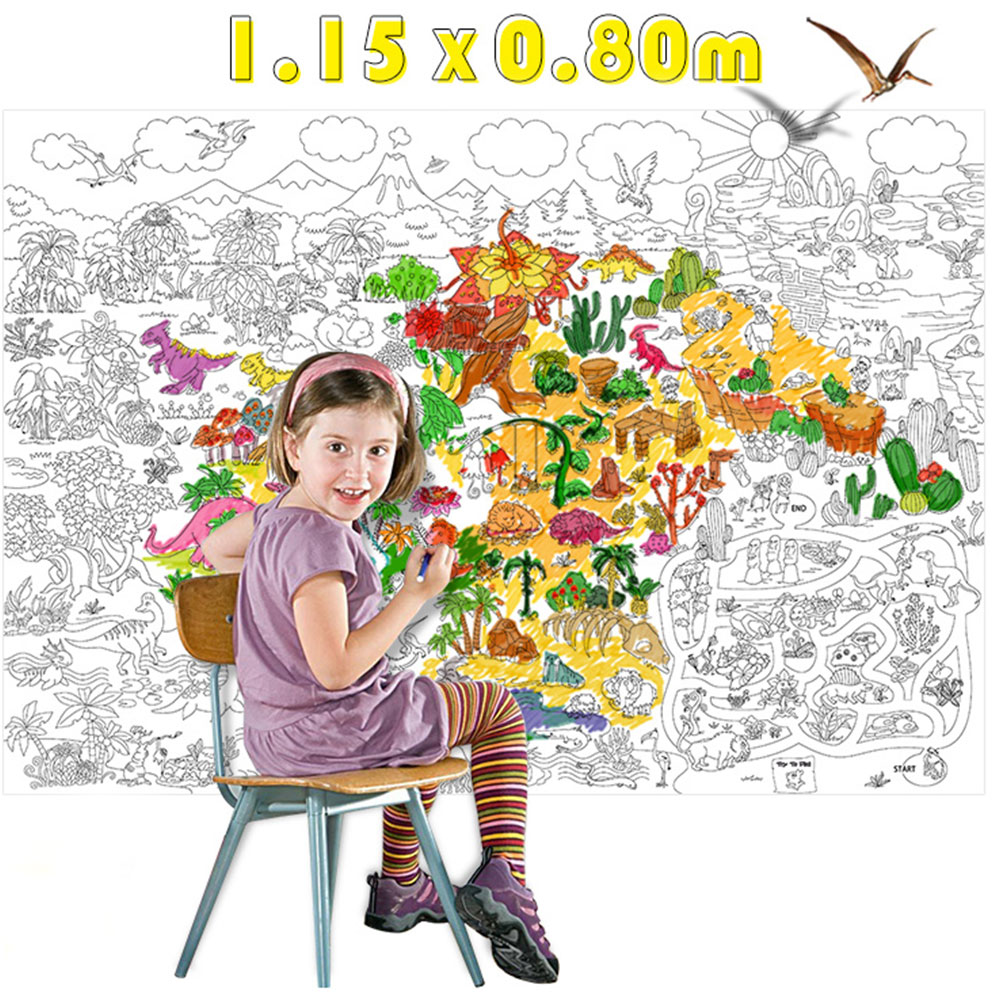 115*80cm Kids Drawing Coloring Toys Children Super Painter Baby Huge Drawing Paper Giant Coloring Poster Toys Boys Girls Gift