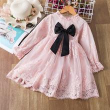 Элегантное платье для девочек принцессы 2021 вязаное весенне