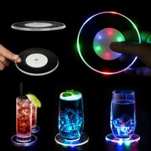 Mat Coaster-Bar Acrylic Round Crystal Cocktail Ultra-Thin Cup-Pad Flash-Base Led-Light