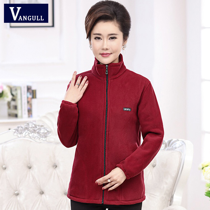 Vangull 2019 New Autumn Mid-aged Women Fleece Jackets Plus Size 5XL Casual Warm Jacket Zipper Outerwear For Mum Winter Fashion