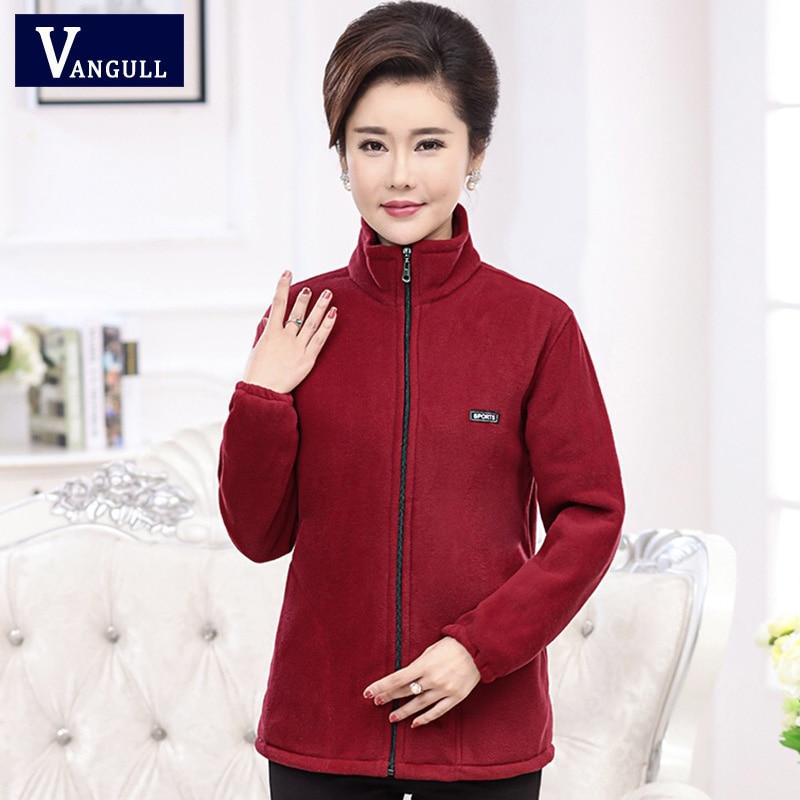 Vangull 2019 New Autumn Mid-aged Women Fleece Jackets Plus Size 5XL Casual Warm Jacket Zipper Outerwear For Mum Winter Fashion