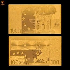 Европейская Золотая евро 100 банкнот, 24к позолоченные поддельные деньги, Золотая фольга, банкноты, коллекционные монеты