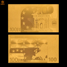 Avrupa altın Euro 100 banknot kağıt 24k altın kaplama sahte para altın folyo banknot para koleksiyon