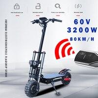 60v3200w scooter elétrico de 11 polegadas roda do motor fora da estrada pneu gordo duplo poderoso e scooter dobrável adultos escooters longo hoverboard Scooters elétricos     -