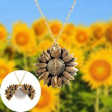 2019 New Women Gold Necklace Custom Simple Metal Letter sunshine Open Locket Sunflower Pendant Necklace Free Dropshipping(China)