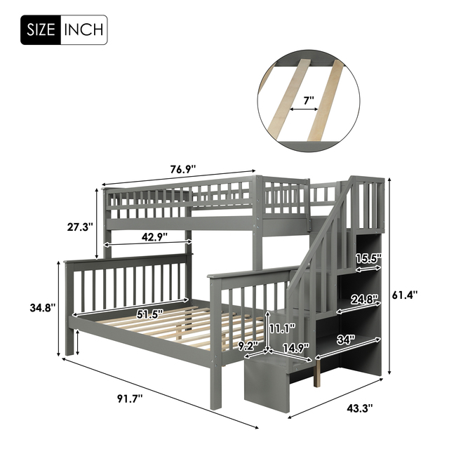 Twin Over Full Kids Bunk Beds with Slide Shelves  2