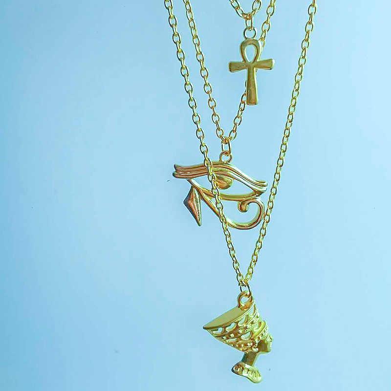 Layered Collana Delle Donne Egitto Occhio Di Horus Queen Faraone Ankh Croce Pendente Amuleto Collane Africano A Più Strati Egyption Gioielli