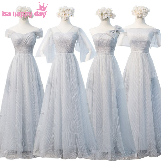 Bridesmade Dress Bride Silver Gray Elegant Long Bridesmaid Vintage Tulle Bridesmaids Gown Dresses Under 100 For Woman W4305