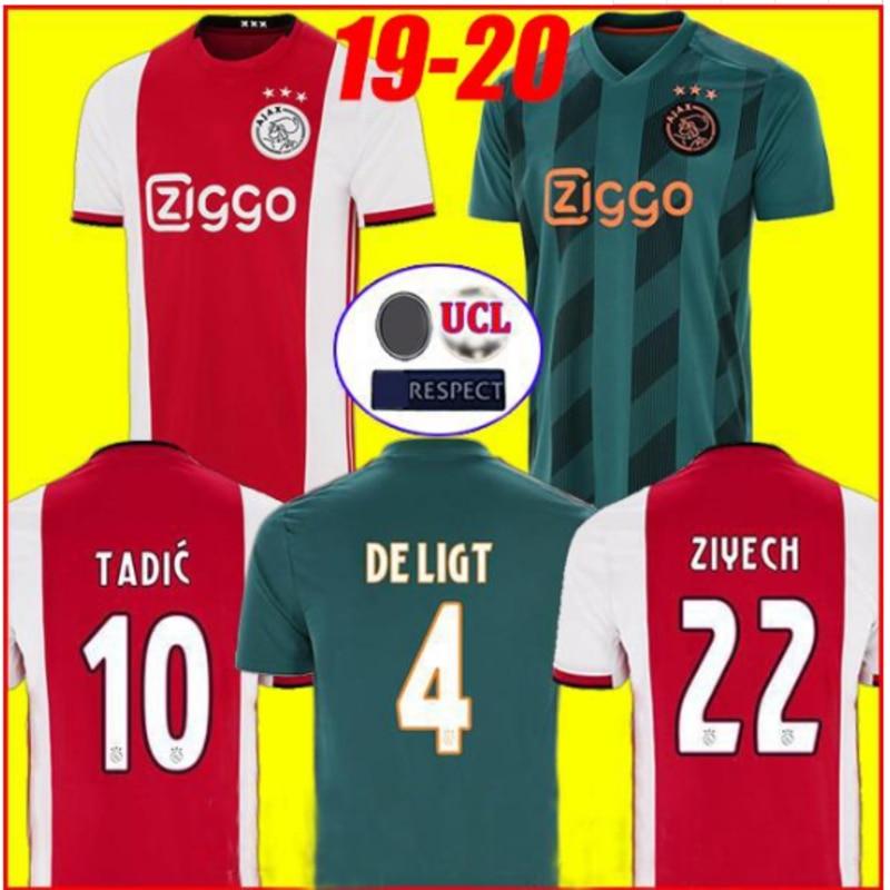 2019 Ajaxe Jersey Home Away Soccer SHIRT DE JONG DE LIGT VAN DE BEEK NERES HUNTELAAR 19 20 Ajaxes TADIC ZIYECH Football Shirts