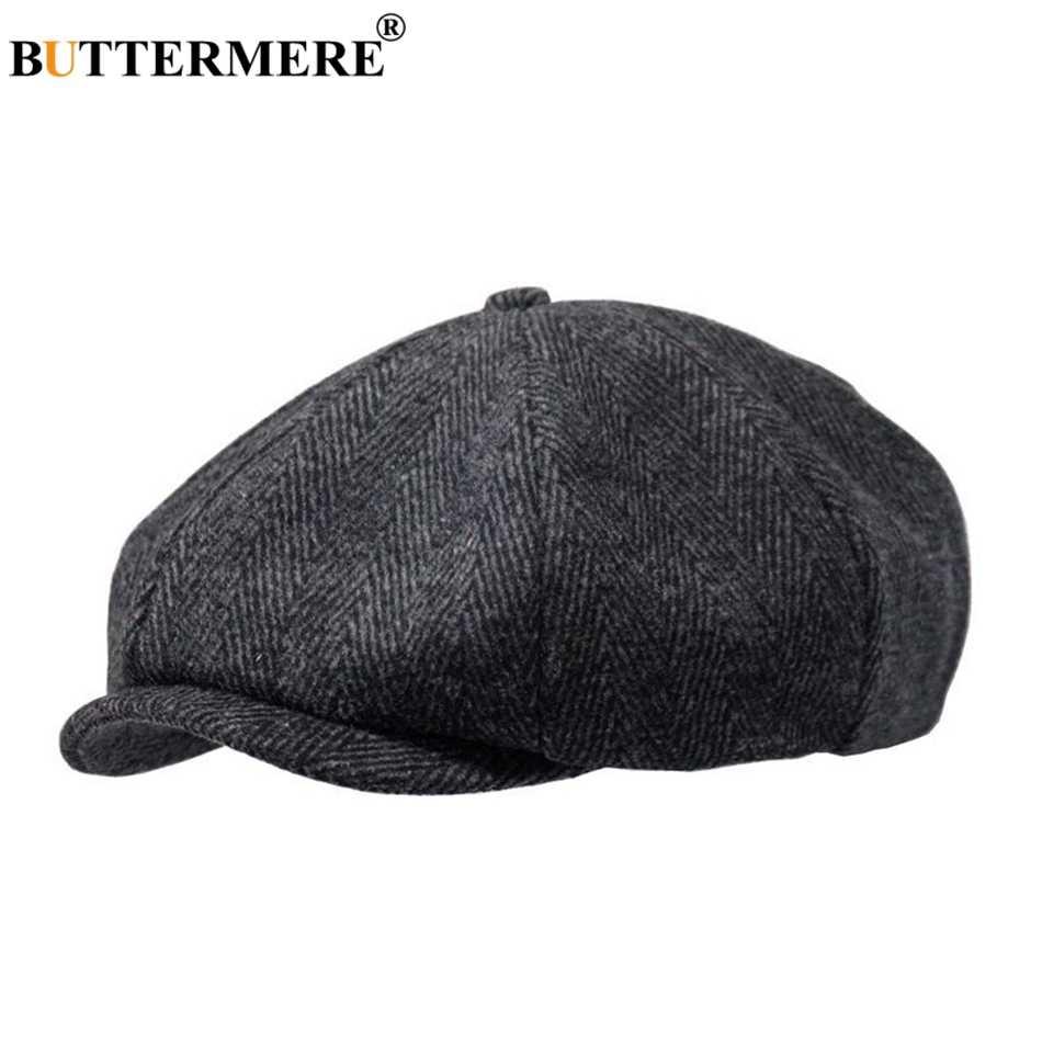بوترمير Newsboys القبعات متعرجة الرجال قبعات مسطحة الصوف عادية الشتاء تويد الإناث انكلترا نمط الكلاسيكية مثمنة القبعات وقبعة