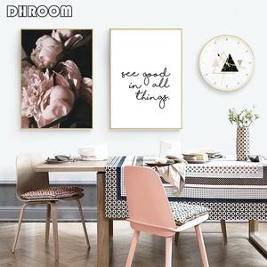 Image 3 - Quadro su tela decorazioni nordiche fiore di peonia rosa Poster e stampa Love Wall Art immagine floreale decorazioni per la camera da letto decorazioni per la casa