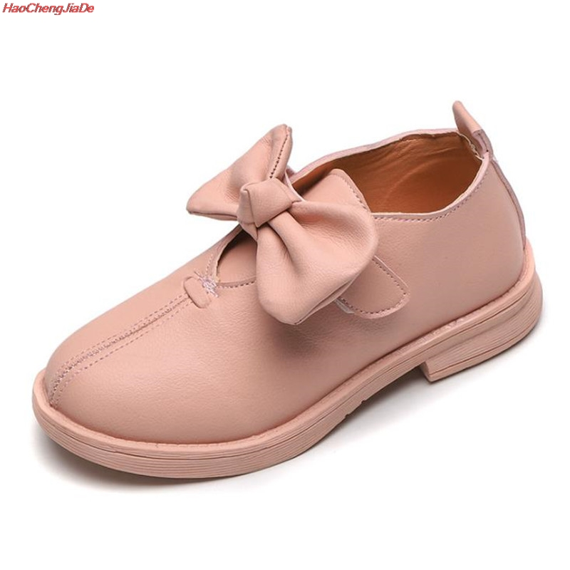Baby Girls Leather Shoes Princess Mary Jane Bow Flower Dress Shoes Children Casual Shoes Kids Low Heeled Dance Shoes